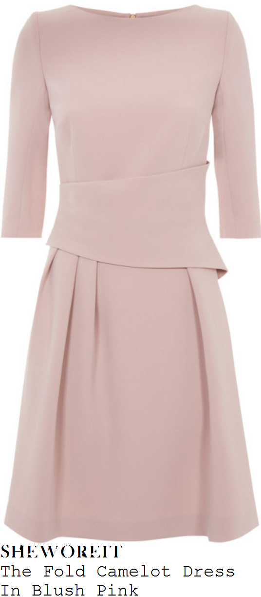 holly-willoughby-the-fold-camelot-pale-blush-pink-structured-waist-detail-a-line-dress
