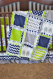 Elephant Baby Boy Crib Bedding navy blue and lime green and gray