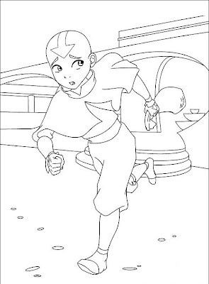 Katara playing with water coloring page | 400x295