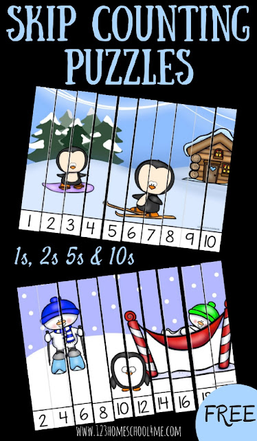 FREE Winter Skip Counting Puzzles for Prek, Kindergarten, and first grade students to practice counting by 1s, counting by 2's, counting by 5's, counting by 10's. This fun math game is perfect for math centers, homeschool, educational activities, and as a foundation for multiplication.