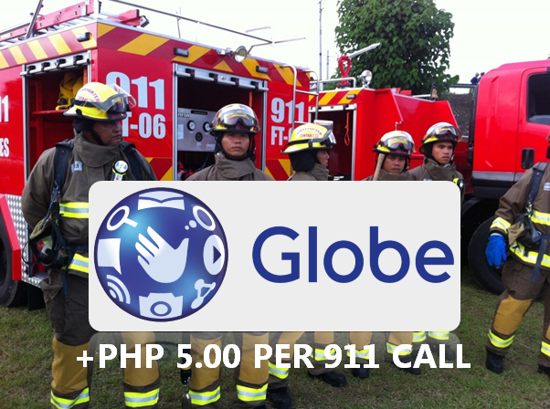 Why will Globe telecom charge an additional P5 on 911 calls?