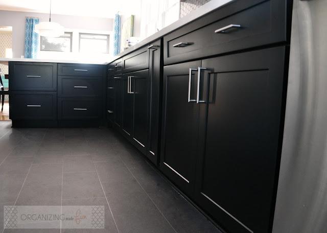 Black cabinet drawers, stainless drawer pulls :: OrganizingMadeFun.com