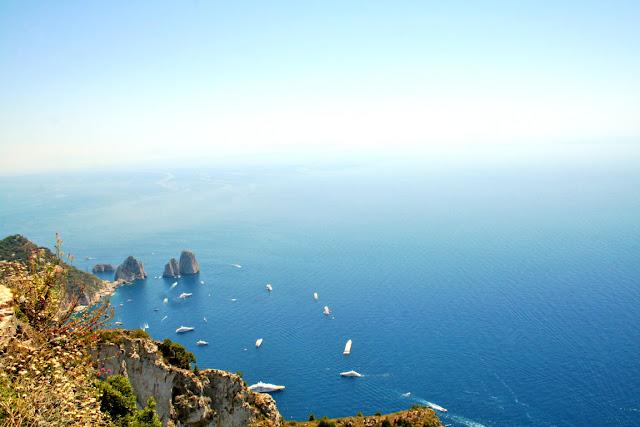 mare, acqua, cielo, barche, monti, faraglioni, Anacapri