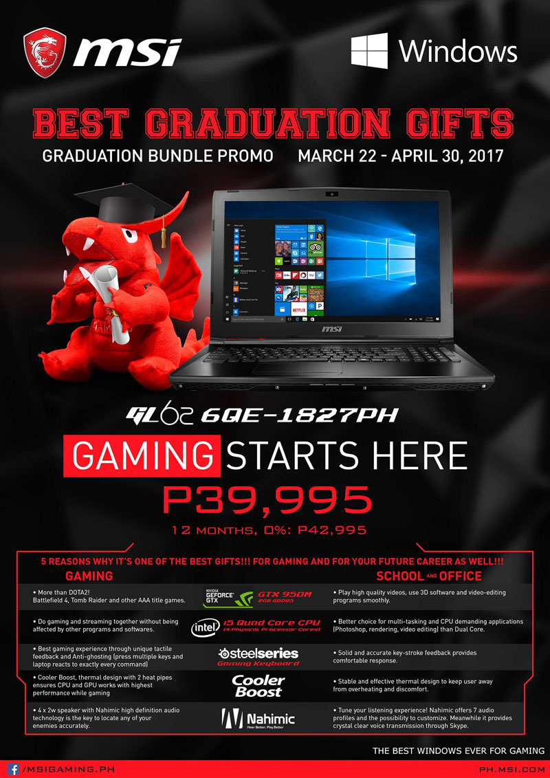 MSI Philippines Notebook Announces Graduation Promo