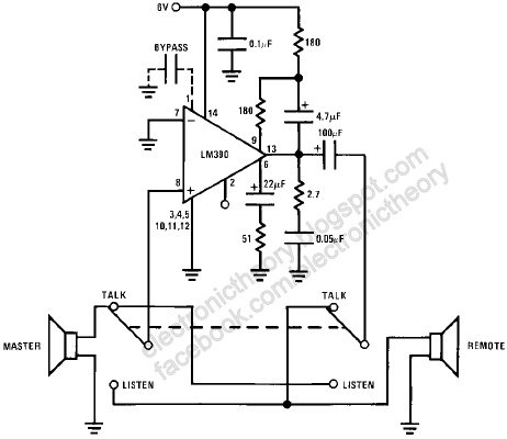 LM390 Simple 2-Way Radio Intercom Circuit
