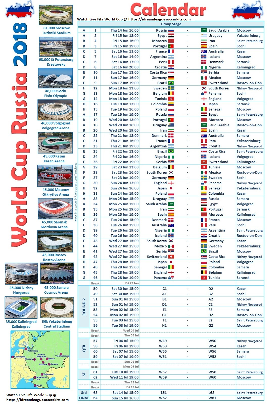 Fifa World Cup  Schedule And Time Table