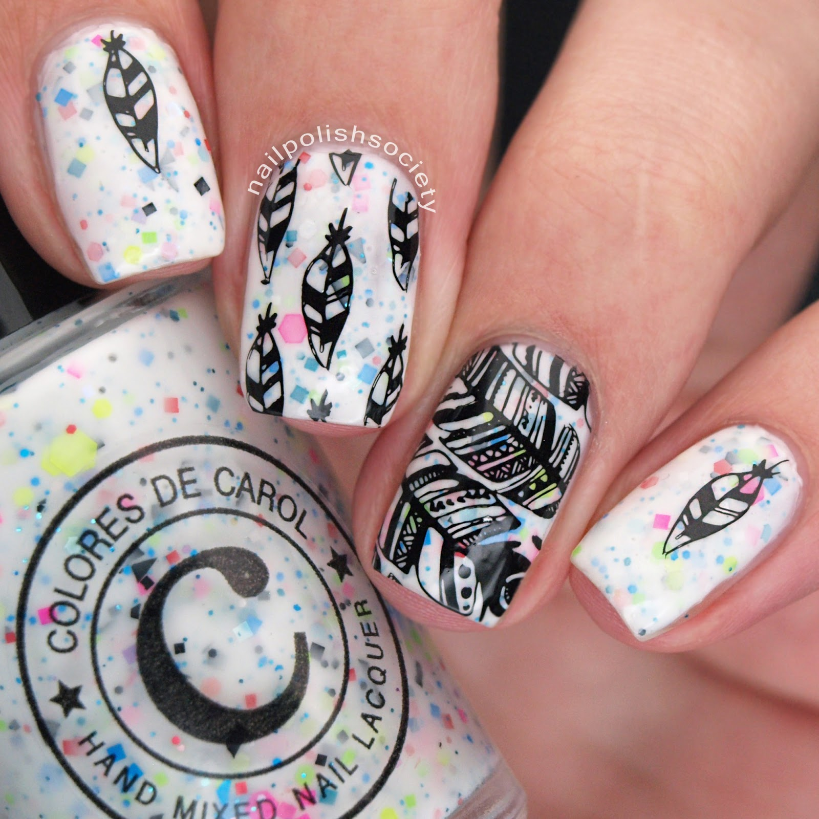 Nail Polish Society: UberChic Beauty Feathers Mini Stamping Plate Review