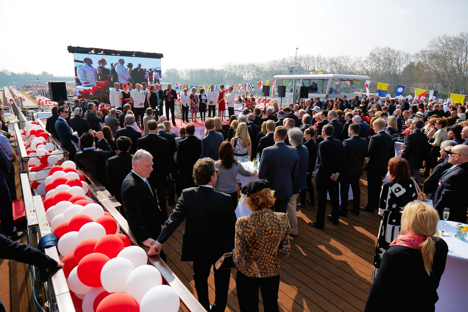 The view from the Sun Decks of the Viking Buri and the Viking Heimdal at the christening event in Avignon. Photo: Courtesy of Viking Cruises. Unauthorized use is prohibited.