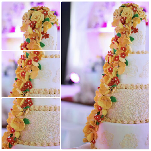 Red and Yellow Floral Wedding Cake