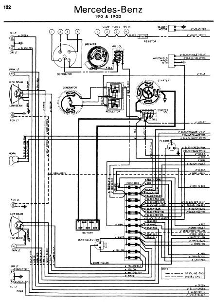 repair-manuals: Mercedes-Benz 190D 1962-1970 Wiring Diagrams