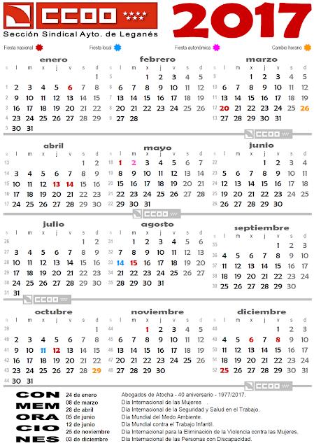 Ccooweb s s ccoo ayto legan s calendario laboral 2017 for Calendario laboral leganes 2017
