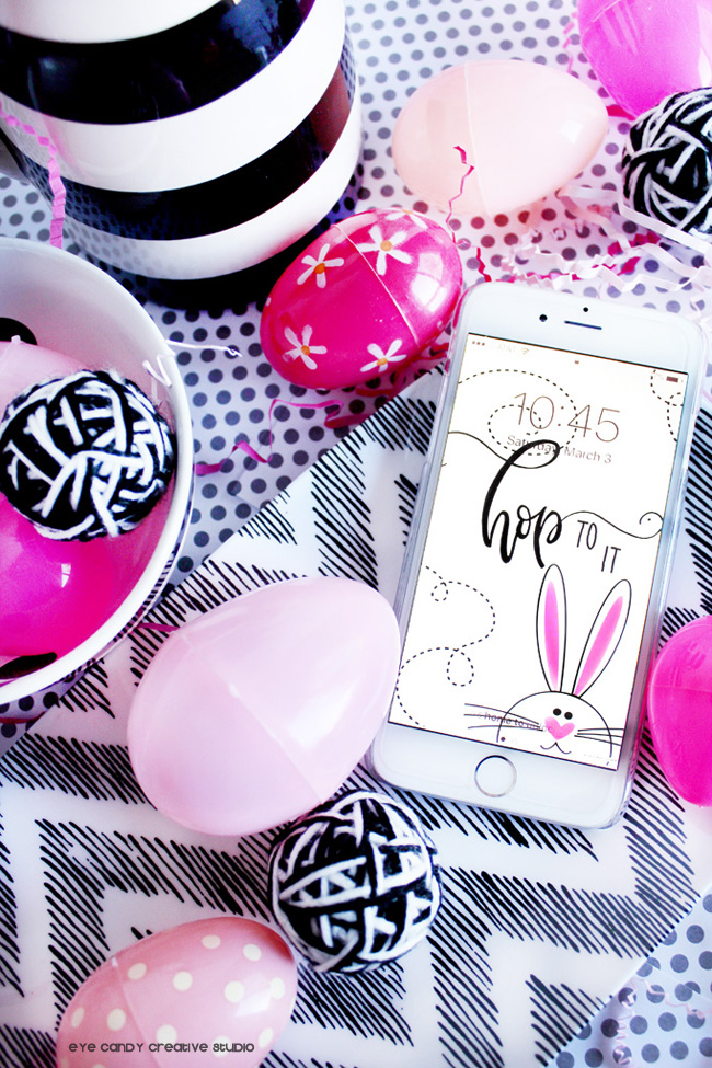 easter bunny, black & white, easter, hop to it, hand lettered, cell phone art