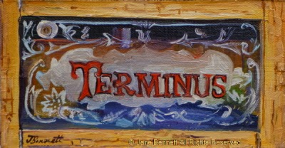 plein air oil painting  of ghost sign in the derelict Terminus Hotel in Pyrmont  by industrial heritage artist Jane Bennett