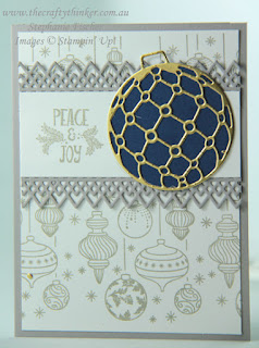 #thecraftythinker  #stampinup  #christmascard  #cardmaking  #beautifulbaubles #crazycraftersbloghop , Christmas card, Crazy Crafters Blog Hop, Beautiful Baubles, Stampin Up Australia Demonstrator, Stephanie Fischer, Sydney NSW