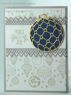 #thecraftythinker  #stampinup  #christmascard  #cardmaking  #beautifulbaubles #crazycraftersbloghop , Christmas card, Crazy Crafters Blog Hop, Beautiful Baubles, Stampin Up Australia Demonstrator, Stephanie Fischer, Sydney NSW