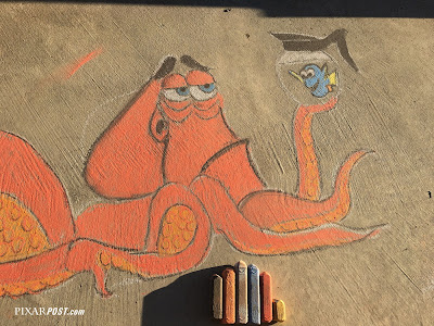 Finding Dory Hank Fan Artwork in sidewalk chalk