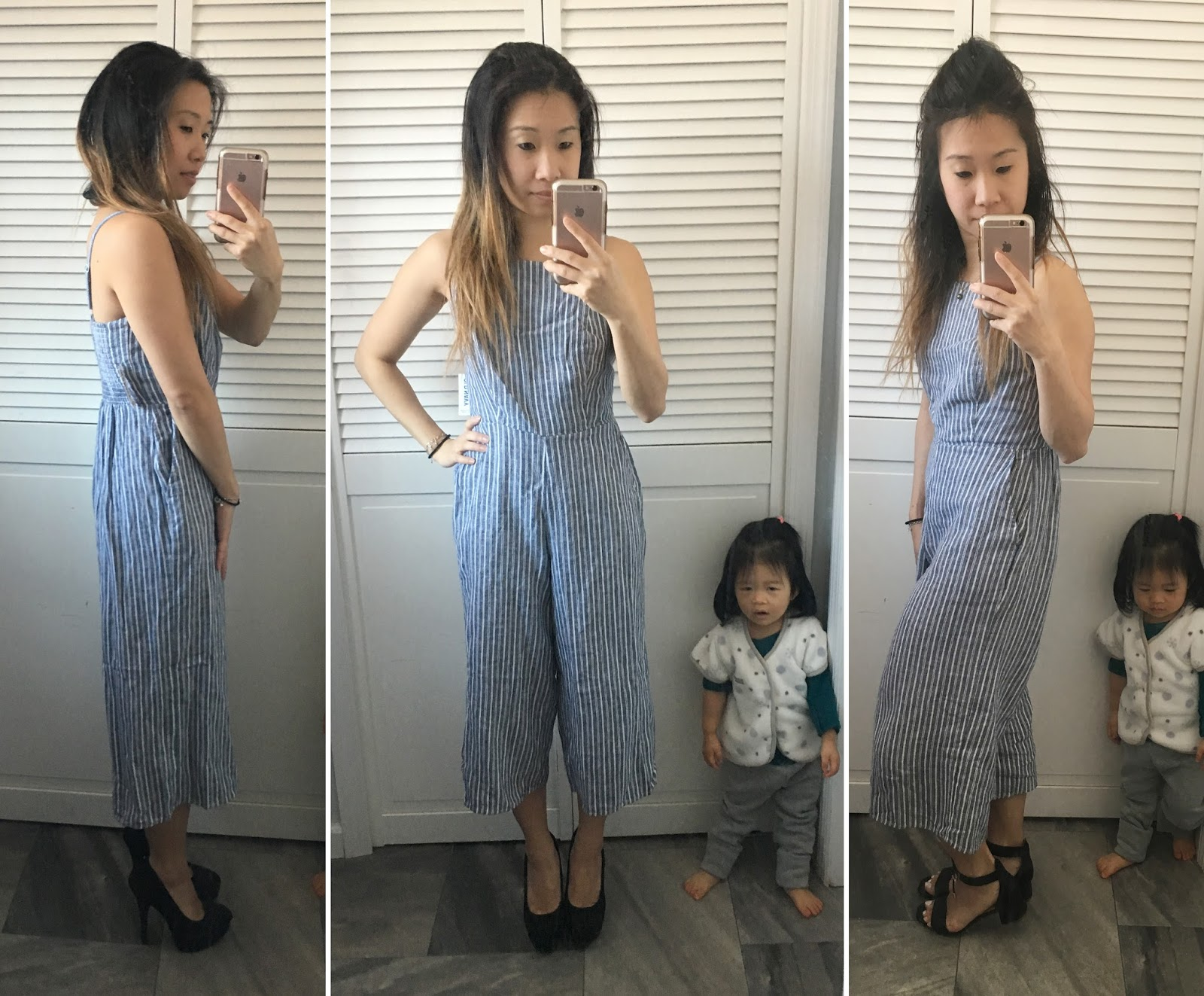 Old Navy Blue And White Striped Jumpsuit