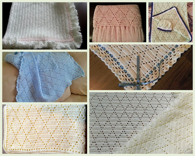 Lacy Crochet Diamond Stitch Baby Blanket Free Pattern