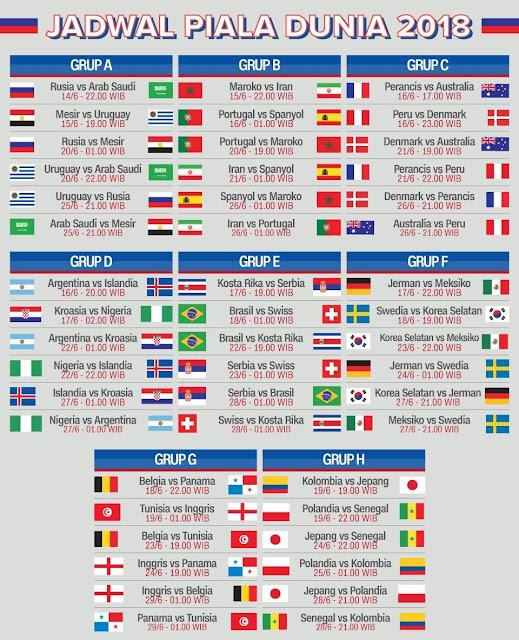 Jadwal Lengkap Pertandingan Sepakbola Piala Dunia 2018 Rusia