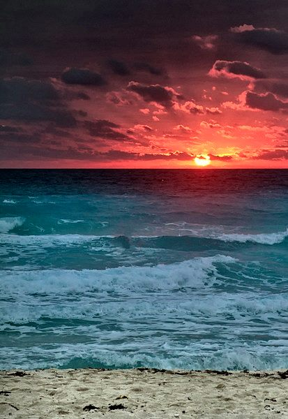 sunset the Cancun beaches