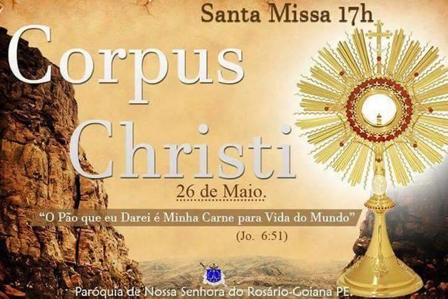 Programação de Corpus Christi da Paróquia Nossa senhora do Rosário