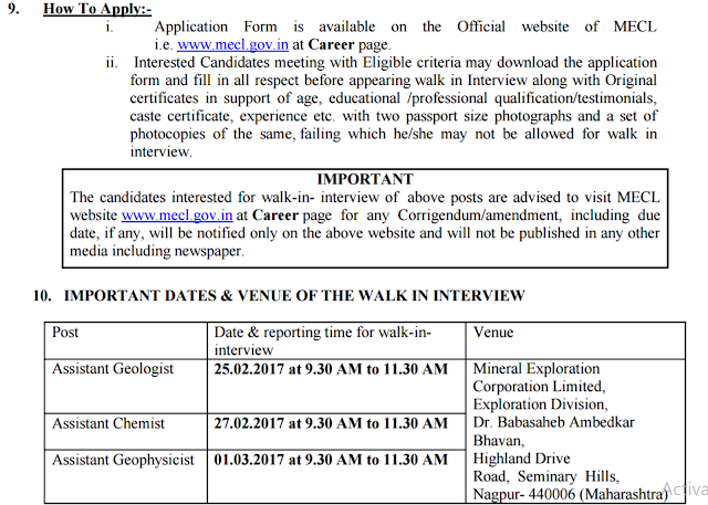 MECL Recruitment 2017