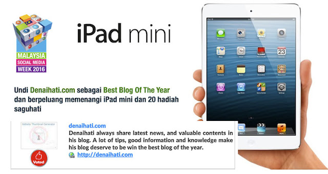 Denaihati Hadiah iPad Mini kepada pengundi MSMW2016