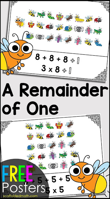 Do you love the book a Remainder of One? I do! It's an awesome book for teaching divisibility rules, repeated addition, multiplication and division with remainders to little ones and get them thinking about number sense right as young children. This set of free pdf posters were made to display while reading A Remainder of One. You can download them free from the link in this post.