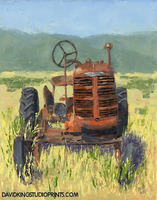 art painting tractor abandoned rusty farm desert