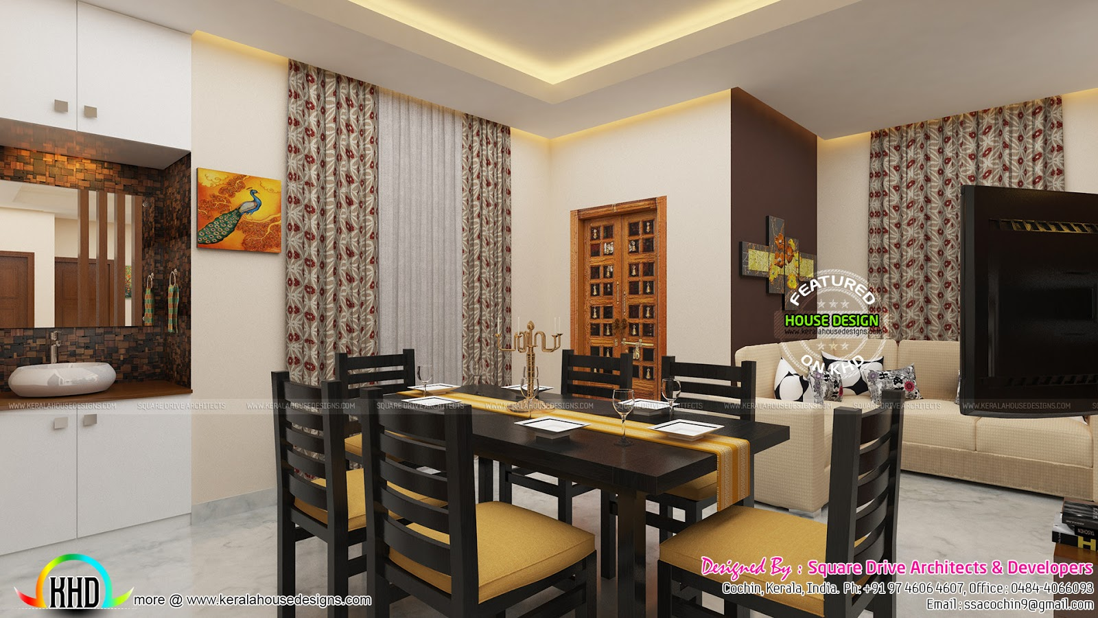 Awesome interior of dining area kerala home design and for Interior design for dining area
