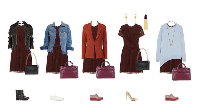 Комплекты с бордовым платьем из кружева