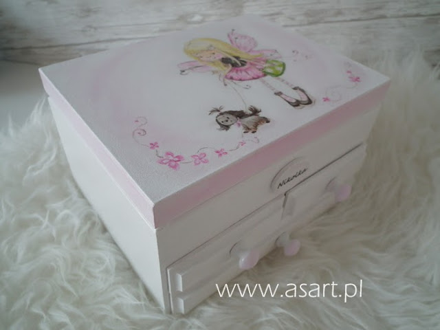 szkatułka decoupage dla dziewczynki