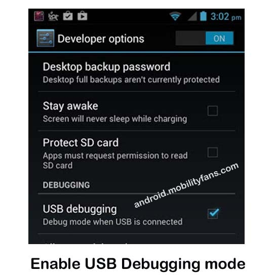 Enable USB Debugging mode for Root Micromax P256