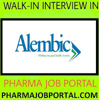 Alembic Pharma Walk In Interview For FRESHERS, B.Pharm, B.Sc, D.Pharm, at 5, 6 & 7Sep.