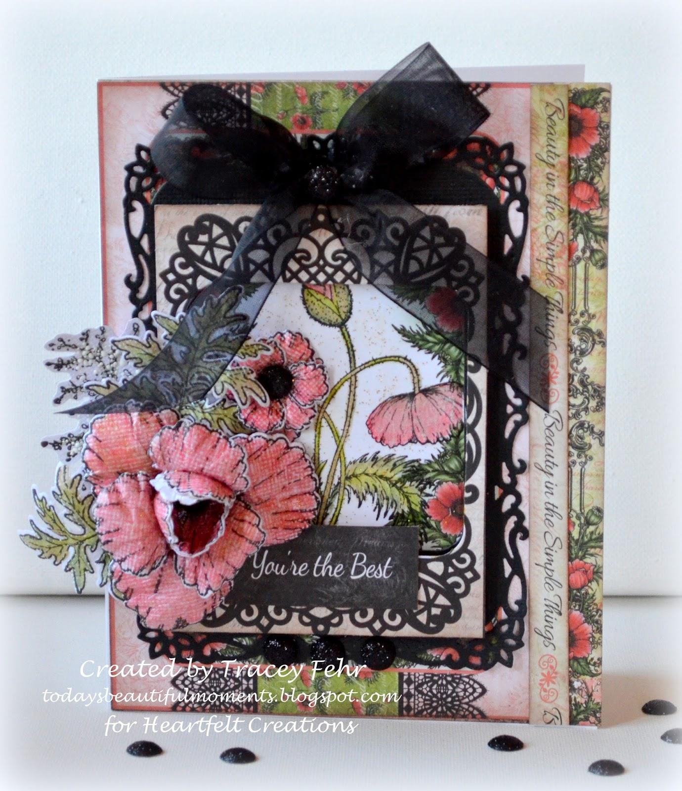 Heartfelt Creations Cling Rubber Stamp Set ~ Blazing Poppy Stems HCPC3677 RETIRED!