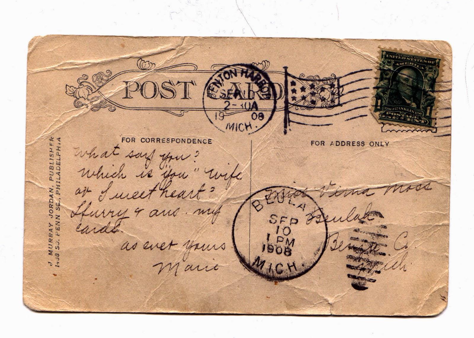 Год петуха, старая почтовая открытка фото