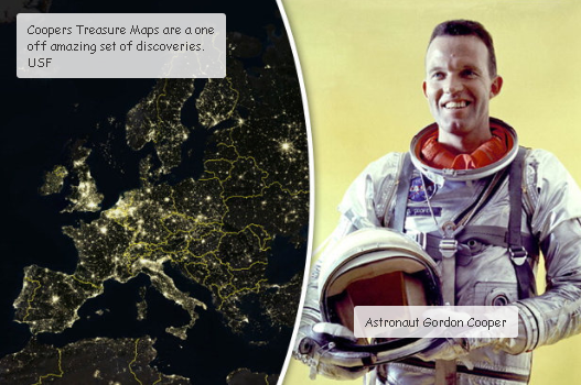 Gordon Cooper the Astronaut who mapped the sea anomalies and created a treasure map.