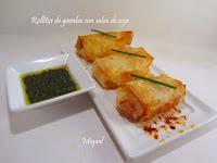 Rollitos de gamba con salsa de soja
