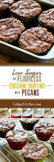 Low-Sugar and Flourless Zucchini Muffins with Pecans (Gluten-Free) found on KalynsKitchen.com