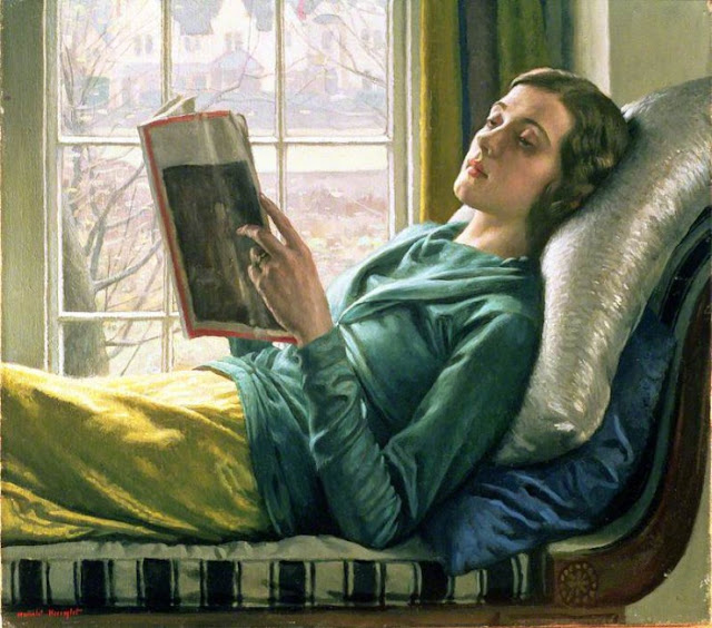 Painting of girl reading by Harold Knight