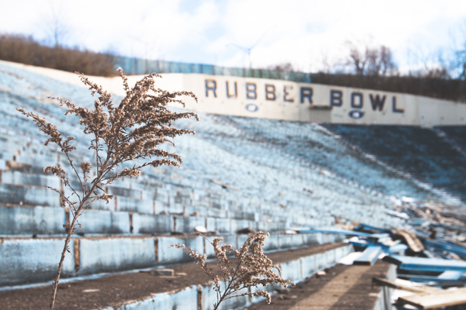 abandoned, akron, rubber bowl