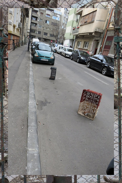 Crates in a parking spot in Bucharest