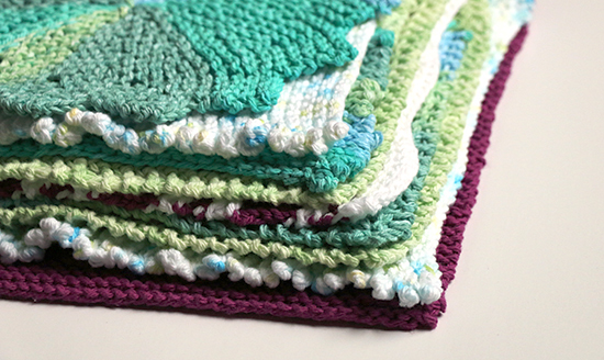 Stack of Knit Dishcloths or Washcloths in a Variety of Cotton Yarns