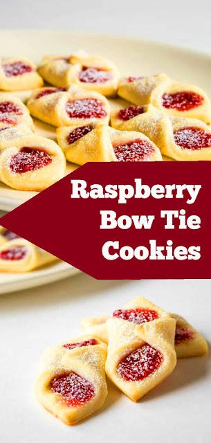 Raspberry Bow Tie Cookies | recipes desserts |  cookie recipe for kids | cookie recipe tasty | cookie recipes unique | cookie recipes easy #raspberry #bowtie #cookies #dessert #holidaycookie