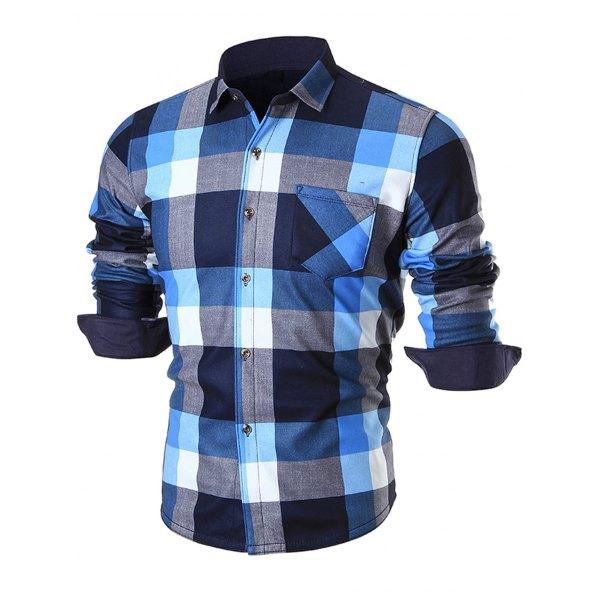 Thick Warm Chest Pocket Plaid Shirt -Light Blue 2xl