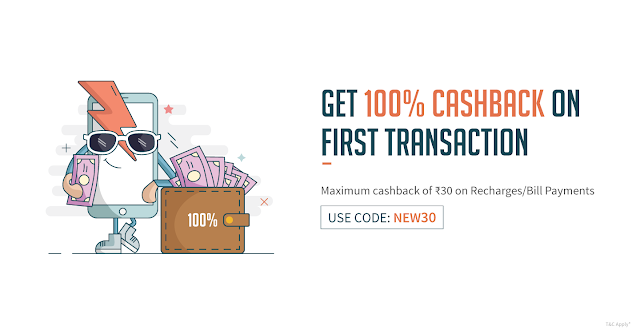 Freecharge Get 100% Cash Back on Recharges/Bill Payments