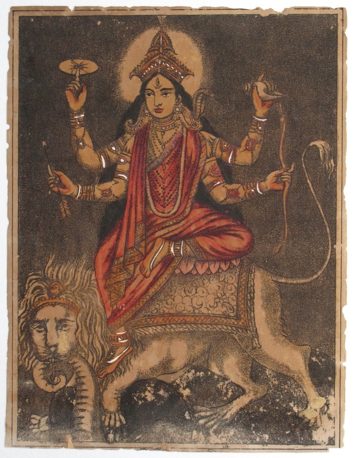 Goddess Jagaddhatri - Vintage Print c1875-1880