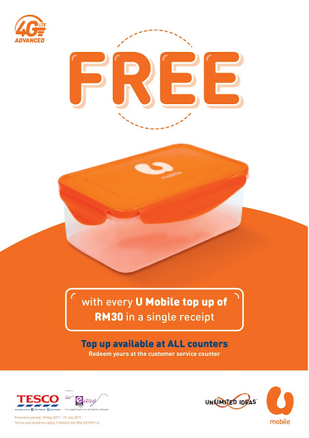 Tesco Malaysia Top Up U Mobile Reload Free Food Container Promo