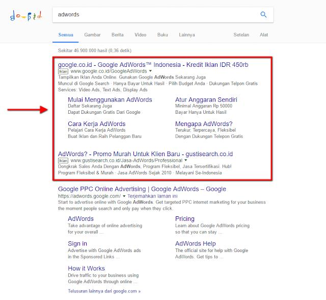 hasil pencarian adwords di Google