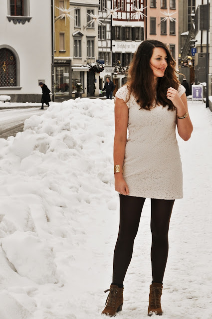 white lace dress in winter // snow outfit